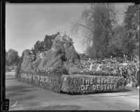 """River of Destiny"" float in the Tournament of Roses Parade, Pasadena, 1935"