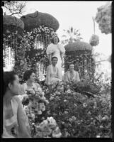 "Tournament of Roses Queen Muriel Cowan and 4 attendants on the ""Firebird"" float, Pasadena, 1935"