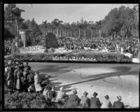 """Peacock"" float in the Tournament of Roses Parade, Pasadena, 1935"