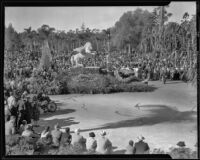 """Bellerophon & the Chimera"" float in the Tournament of Roses Parade, Pasadena, 1935"