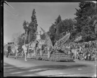 """A Midsummer Night's Dream"" float in the Tournament of Roses Parade, Pasadena, 1935"