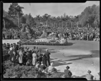 """Pipes of Pan"" float in the Tournament of Roses Parade, Pasadena, 1935"