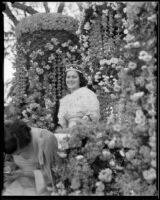 "Tournament of Roses Queen Muriel Cowan on the ""Firebird"" float, Pasadena, 1935"