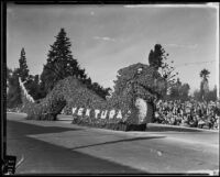 """Poinsettia Sea Serpent"" float in the Tournament of Roses Parade, Pasadena, 1935"