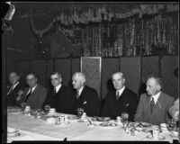 Luncheon honoring Southern Pacific Railroad officials Paul Shoup and A.D. McDonald, Los Angeles, 1932