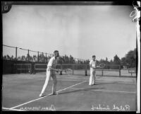 Gene Warren and Ralph Sindorf playing tennis, Midwick Country Club, Alhambra, 1925