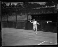 Harold Godshall playing tennis, Midwick Country Club, Alhambra, 1925