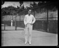 Harold Godshall standing with tennis racket, Midwick Country Club, Alhambra, 1925