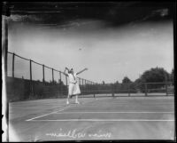 Marion Williams playing tennis, Midwick Country Club, Alhambra, 1925