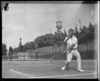 Walter Wesbrook playing tennis, Midwick Country Club, Alhambra, 1925
