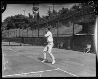 Tom Ferrandini playing tennis, Midwick Country Club, Alhambra, 1925