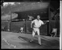 Ralph Sindorf playing tennis, Midwick Country Club, Alhambra, 1925