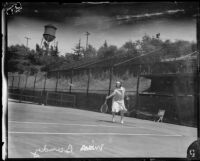 May Sutton Bundy playing tennis, Midwick Country Club, Alhambra, 1925