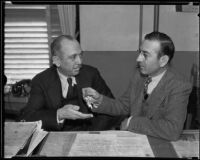Mexican consuls Joaquin Terrazas and Alejandro V. Martinez exchanging keys, Los Angeles, 1935