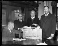 Los Angeles County Board of Supervisors members with ballot box, [1932?]