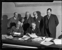 Los Angeles County Board of Supervisors signing contract for San Gabriel Dam construction, Los Angeles, 1933