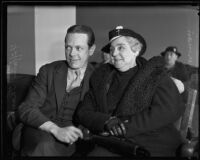Julia Sherman and Tiffany Thayer in court regarding estate of Lowell Sherman, 1935