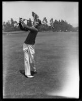 Amateur golfer Bud Thompson swings his golf club, Los Angeles, 1932