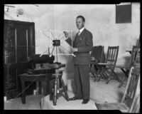 Dr. Roland R. Tileston prepares to lecture, Claremont, 1925