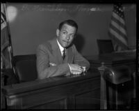 Dr. Franklyn Thorpe sits in court, Los Angeles, 1935
