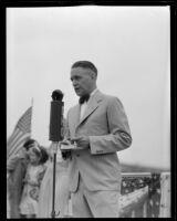 Mayor Frank C. Tillson helps open a new bridge, Burbank, 1935