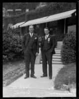 C. Lee Cronk and Lieutenant D. W. Tomlinson at the Huntington Hotel, Pasadena, 1929