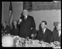 Governor Frank Merriam, Gerald Toll, and Leo Anderson gather at the Biltmore, Los Angeles, 1935