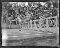 Hurdlers run a race at the Occidental College and Pomona College dual track meet, Eagle Rock (Los Angeles), 1932