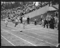 Don Plumb of Pomona College sprints across the finish line during a dual track meet against Occidental College, Los Angeles, 1932
