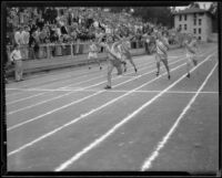 Pomona College and Occidental College runners sprint to the finish line during a duel track meet, Los Angeles, 1932