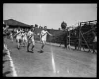 Palmer and Waldrop (U.S.S. New York) and Spies (U.S.S. California) run the 220-yard race during the Pacific Fleet's track championship meet, Long Beach, 1922