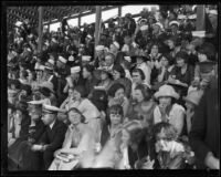 Spectators and sailors crowd the stands to watch the Pacific Fleet championship track meet, Long Beach, 1922