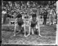 Ralph Hill and another Olympic Club team athlete at a track meet with USC, Los Angeles, 1932