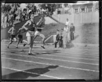 Dave Foore and Dick Wehner, USC track athletes, at an Olympic Club track meet, Los Angeles, 1932
