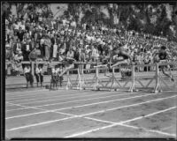 USC track athletes at the hurdles during an Olympic Club track meet, Los Angeles, 1932