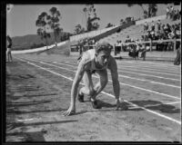 Track athlete at an Olympic Club track meet, Los Angeles, 1932