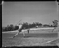 Olympic Club track athlete throwing a javelin, Los Angeles, 1932