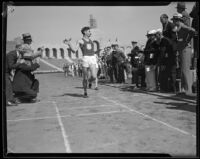 USC runner approaches the finish line at the Coliseum, Los Angeles, 1932