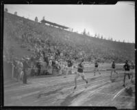 U.S.C. track athletes finishing a race at the Coliseum, Los Angeles, 1926