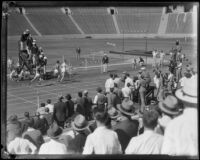 Runners race to the finish line during the S.C. and Stanford dual track meet, Los Angeles, 1934