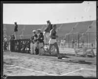 Estel Johnson crosses the finish line in the 880-yard race during the S.C. and Stanford dual track meet, Los Angeles, 1934