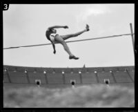 U.S.C. high jumper attempts a jump during the U.S.C. and Occidental dual track meet, Los Angeles, [1926]