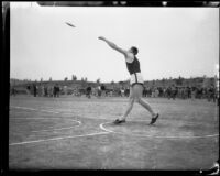 University of California athlete putting a shot, Los Angeles, 1932