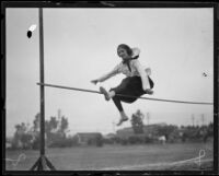 Katherine Burroughs completing the high jump, Los Angeles, 1921