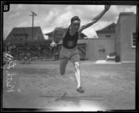 Keith Lloyd, USC track team athlete, in training on campus, Los Angeles, 1925