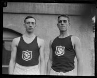 Two USC track team athletes on campus, Los Angeles, 1925