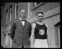 Coach Dean Cromwell and a USC track team athlete on campus, Los Angeles, 1925