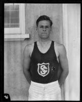 USC track team athlete on campus, Los Angeles, 1925