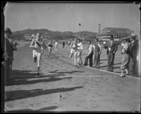 Athletes from Occidental College and U.C.L.A on a track, Los Angeles, 1932