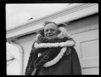Sheriff William Traeger poses on his return from a trip to Hawaii, [Los Angeles?], 1930